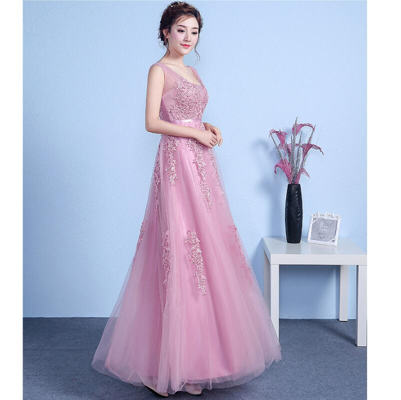 ZH1671D Wholesale women sleeveless pink lace long elegant bridesmaid dress