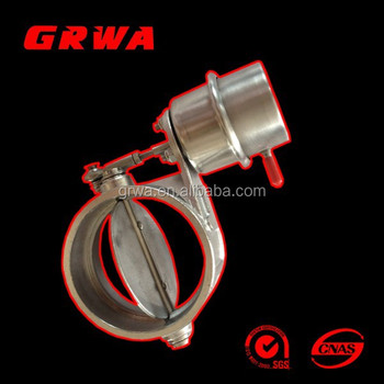 "Weldable Stainless Steel Exhaust Control Valve Set Vacuum Actuator 2"" /3"" Pipe Open Condition"