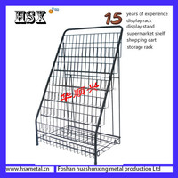 metal foldable magazine newspaper display rack HSX-S278