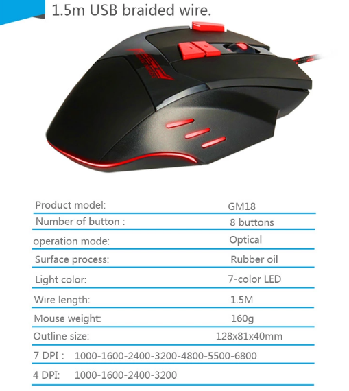 2018  gaming wireless mouse 2.4g wireless optical mouse driver