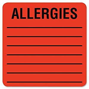 "Wholesale CASE of 15 - Tabbies Square Allergies Labels-Allergy Label, 2""x2"", 500LB/RL, Fluorescent Red"