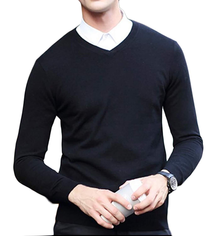 Fensajomon Men Knit V-Neck Slim Solid Color Fall /& Winter Pullover Sweater Jumper Light Grey S