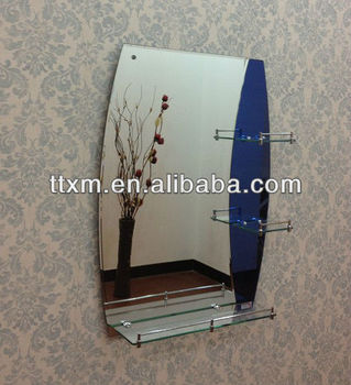 Hottest Selling 2 Face Frameless Wall Mounted Front Mirror Blue Glass  Double Layer Shelf Bathroom Mirror
