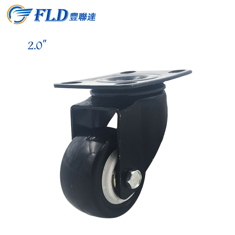 Farland high quality PP/PU 73mm 2 inch mini black swivel caster wheels in stock for sale