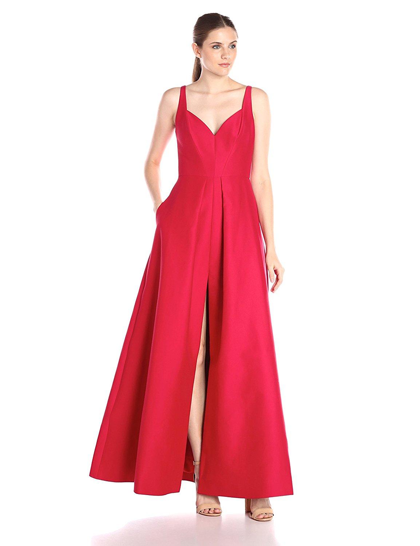 Buy HALSTON HERITAGE Womens Deep Slit Neck Jacquard Tulip Evening ...