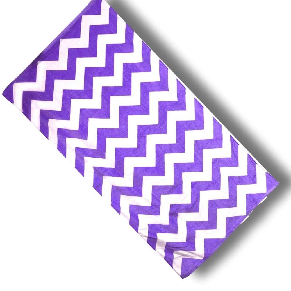 "Custom & Luxurious {30"" x 60"" Inch} 1 Single Large & Thin Soft Summer Beach & Bath Towel Made of Quick-Dry Cotton w/ Funky Classic Zig Zag Travel World Stripped Chevron Nautical Style [Purple & White]"