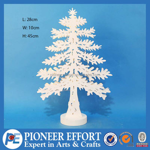 Hot sale exquisite wooden Christmas tree shaped decoration with LED lights