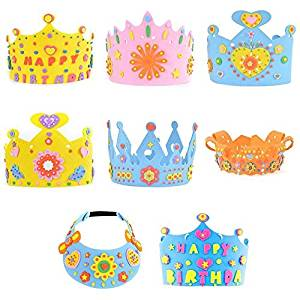New 1 Pcs Eva Foam Birthday Party Hat Caps Crown For Children Self-adhesive Diy Handmade 3d Eva Crown Craft Kits Tool Parts