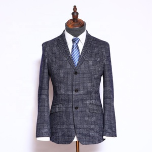 OEM grey plaid business wedding mens Indian tailor made ceremonial suits