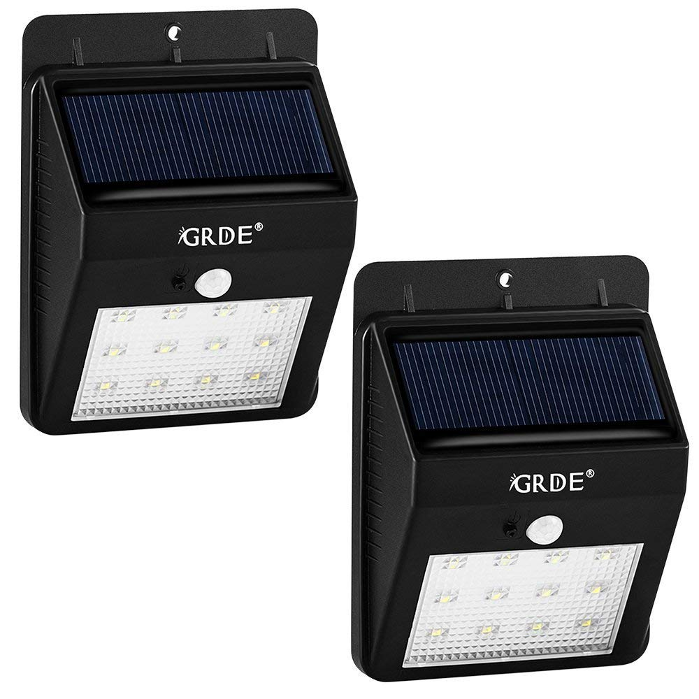 Solar Motion Sensor Light, 12LED Outdoor Wireless Waterproof Security Light with Two Intelligent Modes, White Lighting Landscape Lamp for Patios Garden Decks Pathways Stairways Driveways-2Pack