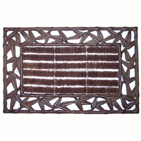 SQUARE LEAVES DEGISN CAST IRON DOOR MAT WITH BRUSH