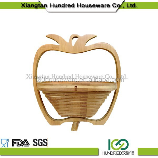 Eco-friendly hot selling solid bamboo apple shape basket fruit