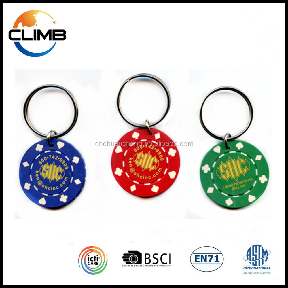 2016 Promotional Gifts high quality ABS custom poker chip keychain publicity gift key finder