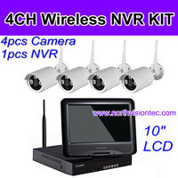 Big screen wireless dvr security system with 10 inch monitor dvr and 4 pcs mini camera