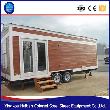 Modular durable light weight tiny wooden steel luxury prefabricated container house with wheels
