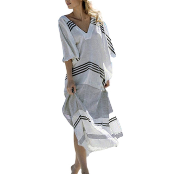 Women Striped Deep V Neck Turkish Beach Kaftan Beachwear Swimwear Maxi Dress bikini cover ups