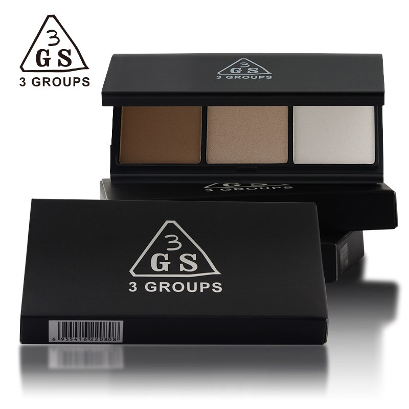 3GS 3colors Concealing Highlight Multifunctional Pressed Powder Palette Kit