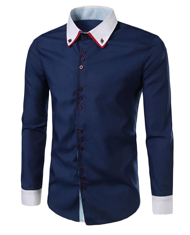96ef71b9 Get Quotations · Vska Mens Color Block Long Sleeve Double Collar Slim Fit  Button Down Shirt