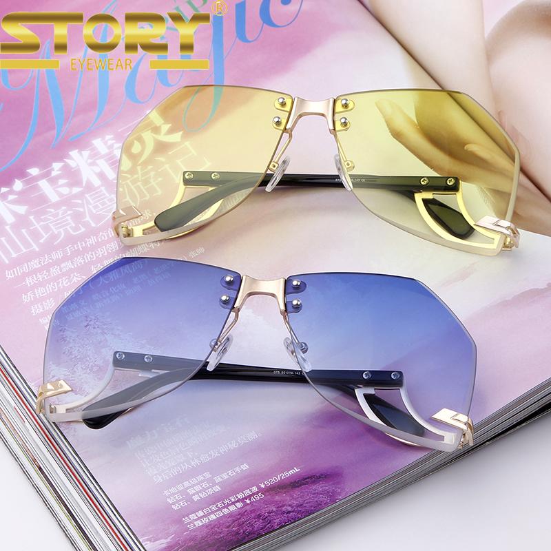 HISTÓRIA STY075 alta qualidade sem aro moda itália design óculos de sol  uv400 60f262a8e22d1