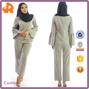 OEM high quality woman modern islamic clothing,long sleeve casual muslim wear set abaya