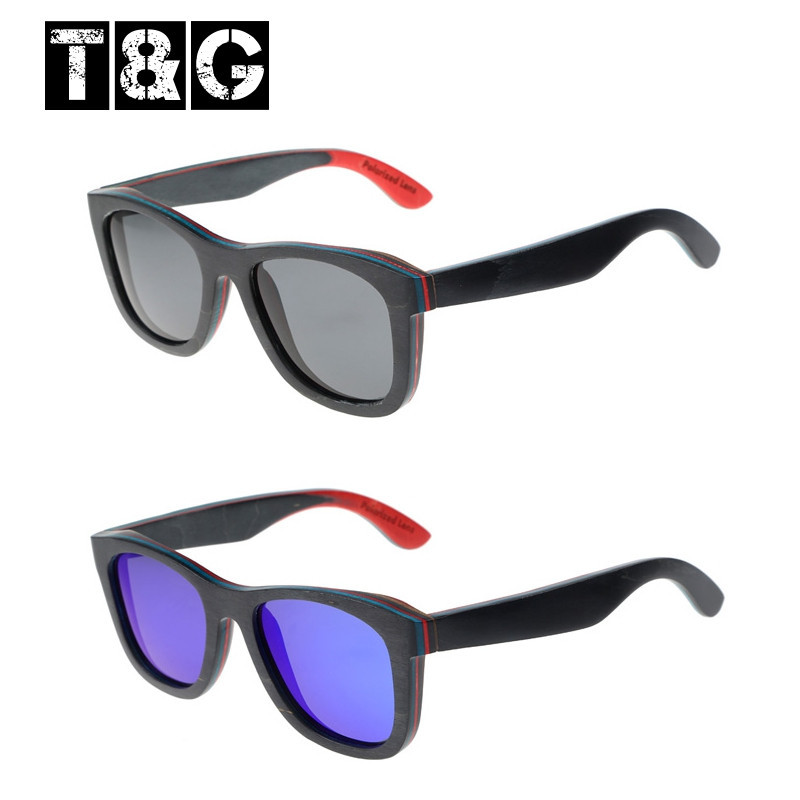 Wood flat sunglasses black polarized mirror lens T&g wooden sunglasses