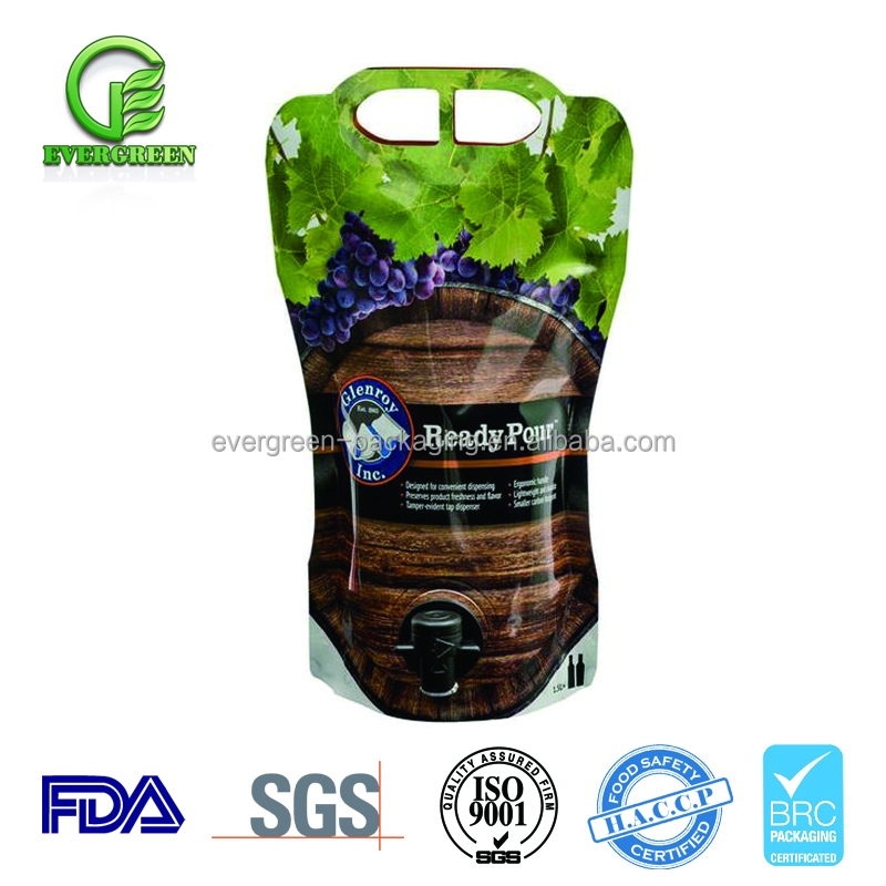wholesale Plastic bib bag In box wine dispenser Food Packaging Bags / BIB spout stand up pouch