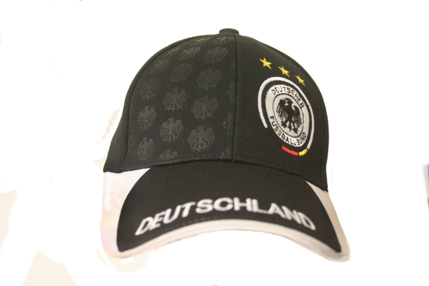 Deutschland Germany Black White 3 Stars DEUTSCHER FUSSBALL BUND Logo FIFA Soccer World Cup Embossed Hat Cap .. New - WC .. High Quality .. New