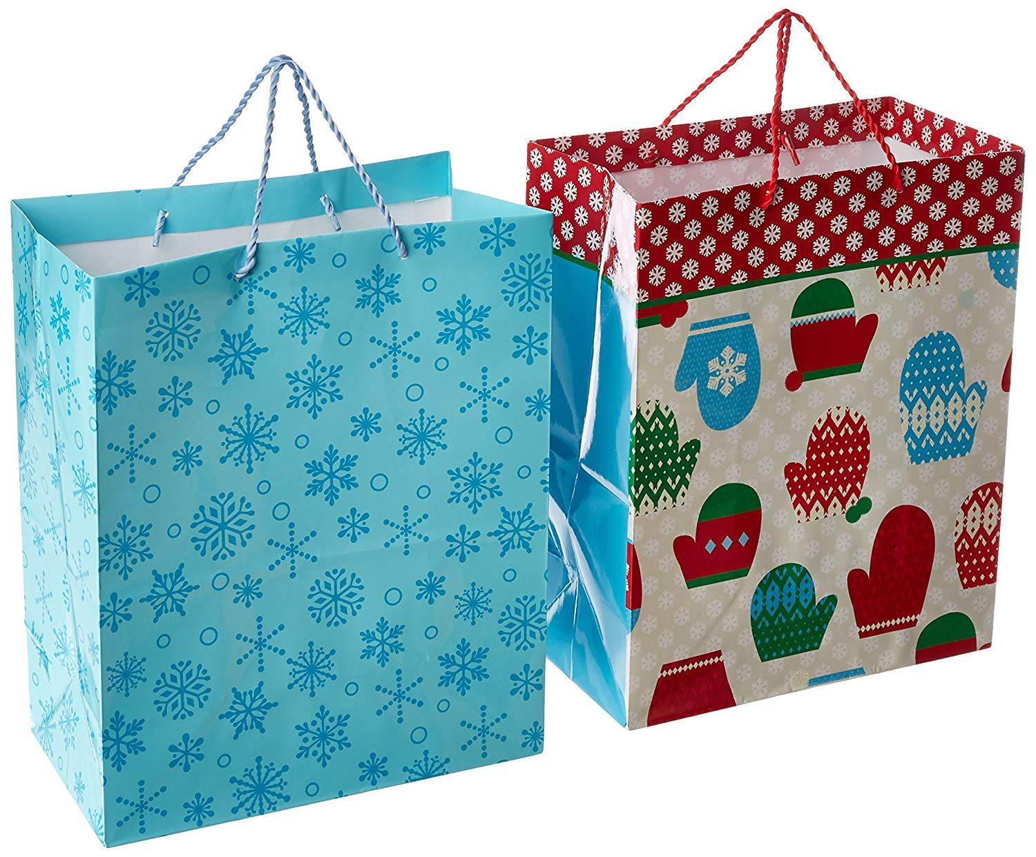 Hallmark Large Holiday Gift Bags, Mitten and Snowflakes (Pack of 2)