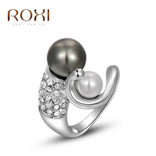 ROXI exquisite Gold plated black pearl ring fashion jewelry free shipping Christmas gift high quality hot