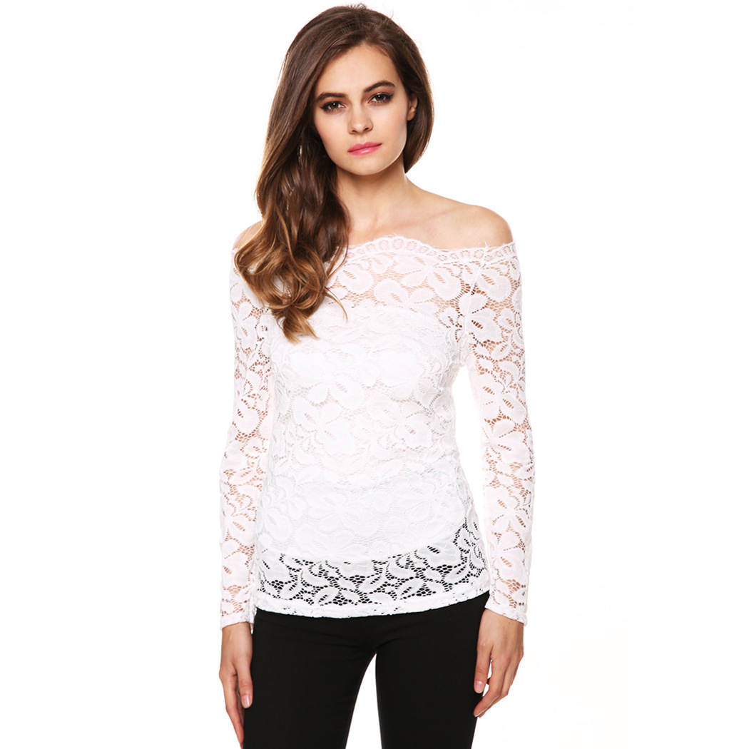 Women's Lace Tops Long Sleeve Crochet Splice Round Neck Sexy Cute Boho T-Shirt Blouse. from $ 23 99 Prime. out of 5 stars Hanky Panky. Women's Signature Lace Unlined Long Sleeve Top. from $ 41 72 Prime. out of 5 stars DJT. Womens Boat Neck Floral Lace Raglan Long Sleeve Shirt Top.