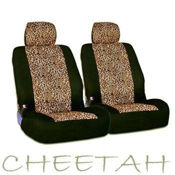 Safari Cheetah Print Universal Size Car Truck SUV Front Seat Covers