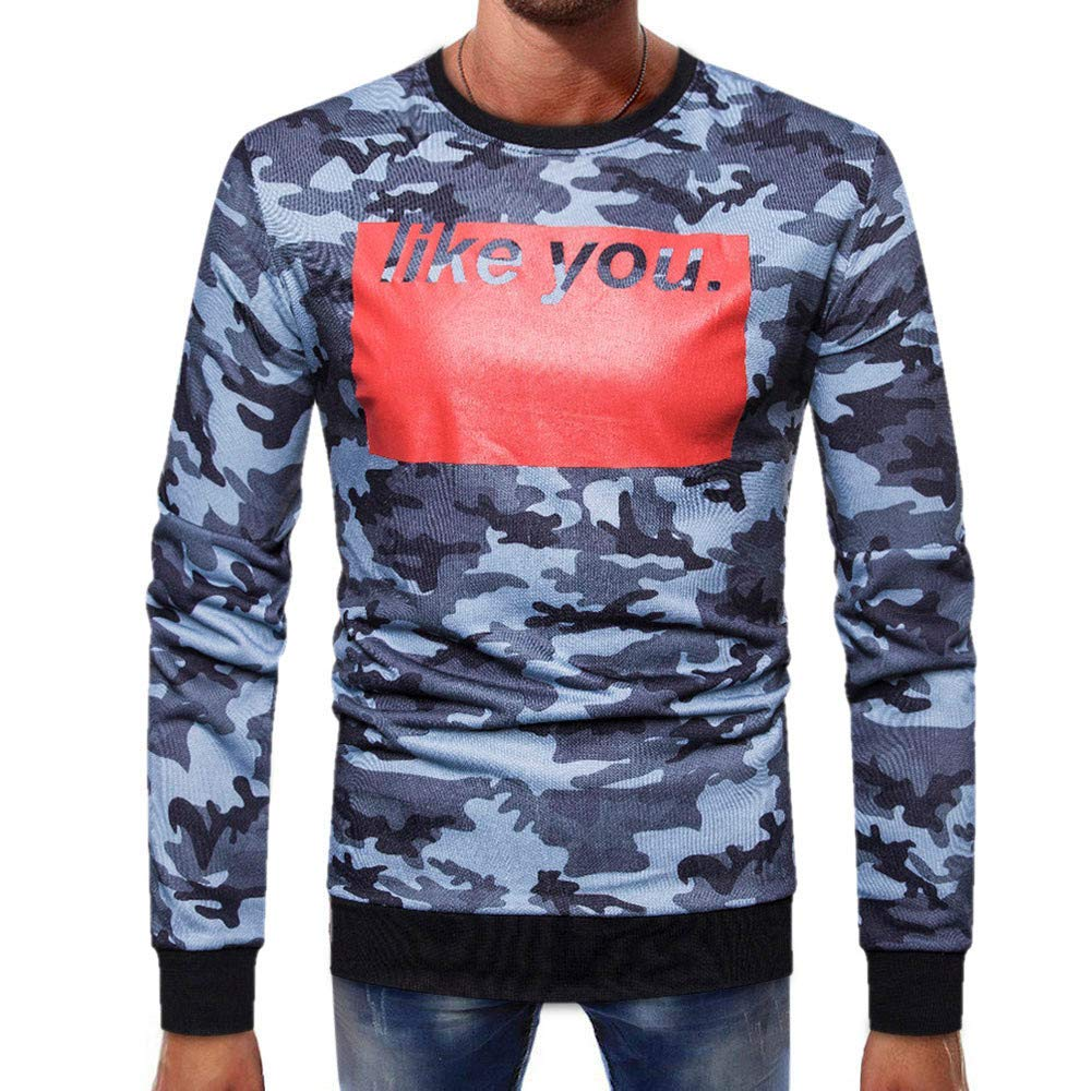 PHOTNO Mens Tee Shirts,Mens Long Sleeve Shirts Camouflage Slim Fit Pullover Tops Boys T Shirts for Men