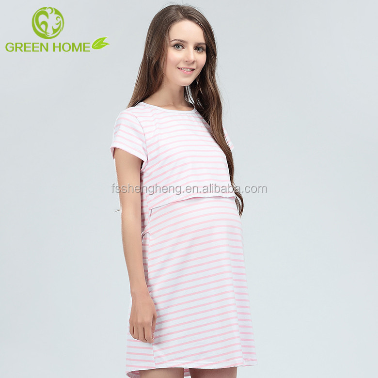 Fancy maternity women nighty in one piece knitted pajama style sleep wear BK186