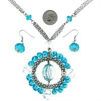 simple costume blue crystal beads circle pendant necklace dangle hook earring with link chain