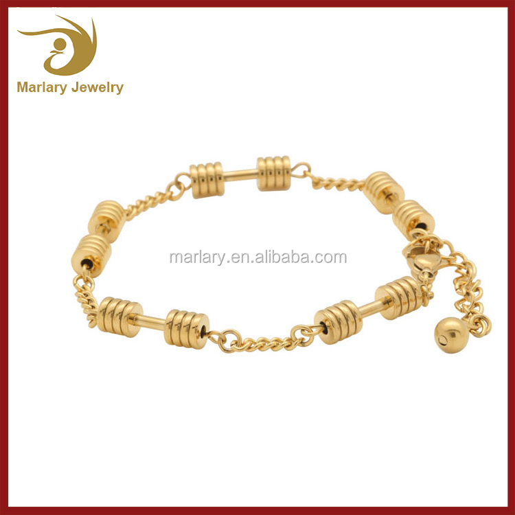 New 18K Gold Stainless Steel Weight Loss Weightlifting Dumbbell Jewelry Bodybuilding Bracelet