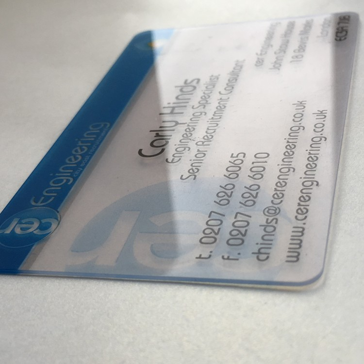 Customized Claire De Pvc Carte Visite En Plastique Transparent Clairement