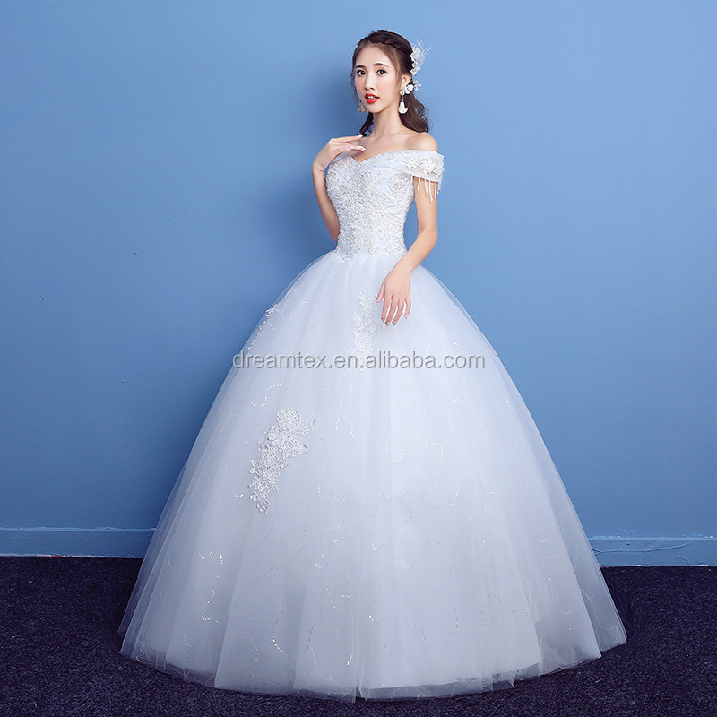 2019 Best sale Lace Wedding Dress White floor length one word off shoulder boat collar  ball gown Bride wedding dress
