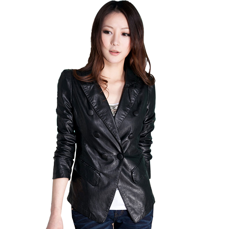 2013 women's spring outerwear leather short design small slim leather clothing formal PU clothing long-sleeve turn-down collar