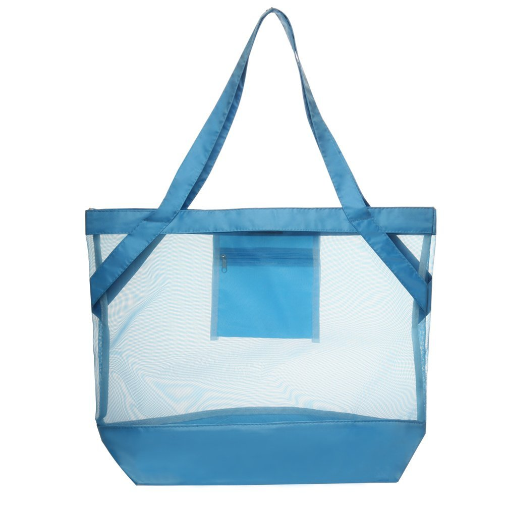 Transparent Tropical Beach Body Mesh Tote Bag (Blue) by BAGS FOR LESS™