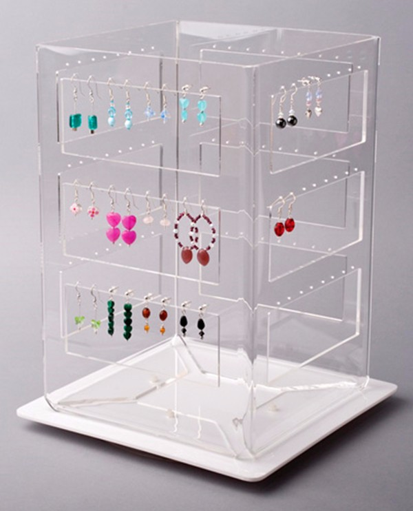 Counertop 4-Side Rotating Jewelry Display Stand Hold 64 Earrings,Custom Acrylic Earring Holder Display Organizer Wholesale