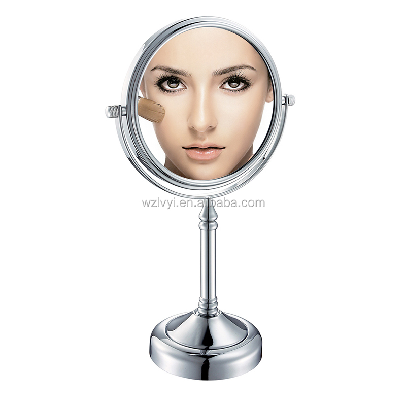 Most popular LY-2251 round shape double-sided desktop brass makeup mirror