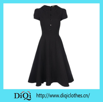 Wholesale Rockabilly Clothing with Collar Short Sleeves Pin-up Vintage 50s Dress Polka Dots Swing Dress