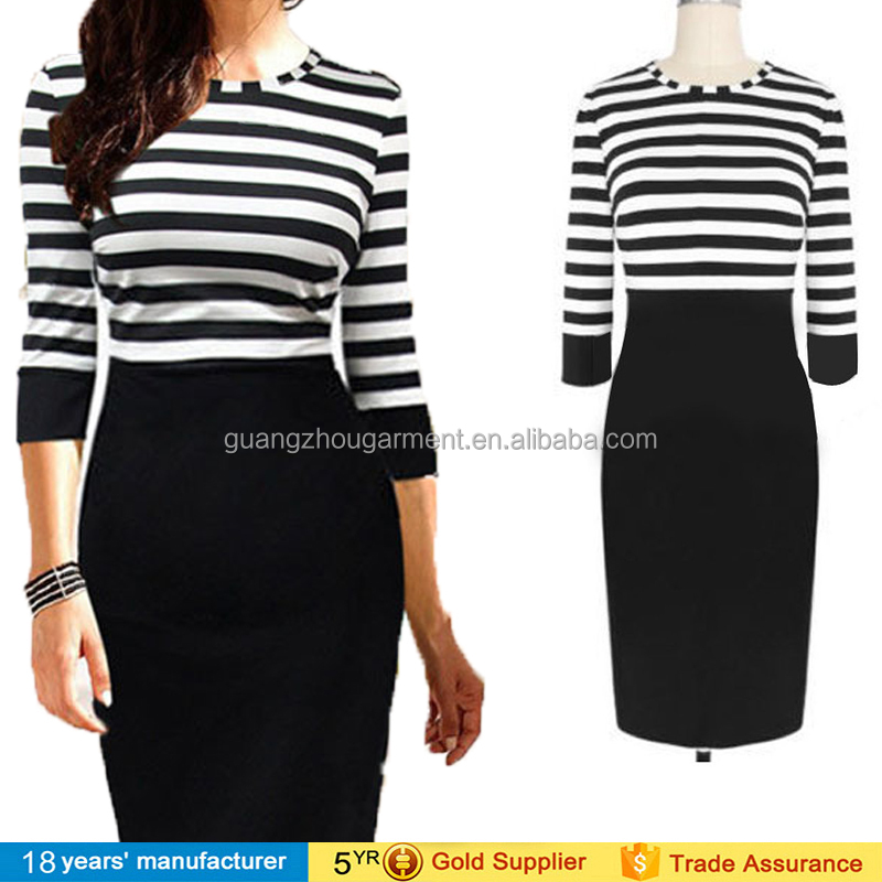 Women's stripe formal party Sheath dresses pictures office wear straight dresses for ladies
