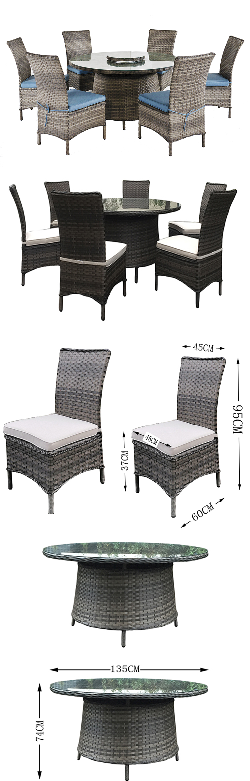 Rattan Patio Furniture 7 PCS Outdoor Dining Set