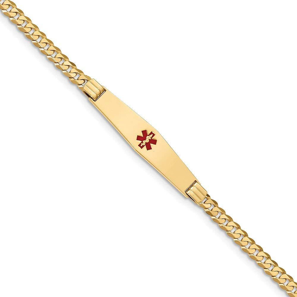 Top 10 Jewelry Gift 14K Medical Soft Diamond Shape Red Enamel Curb Link ID Bracecet