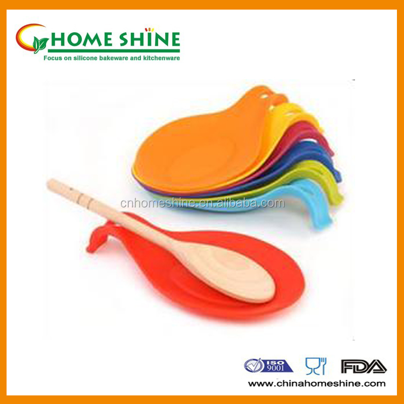 colorful silicone kitchenware spoon rest with FDA LFGB standard