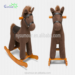 baby wooden horse Kids hobbyhorse Rocking Horse - Children Ride On Rocker Toy Nursery w/Sounds
