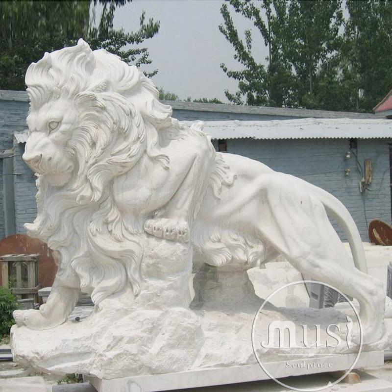 Marble Carved Animal Sculpture Hunan White Marble Carving Lions Statue