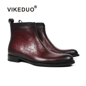 VIKEDUO Hand Made New York Style Laser Letter Footwear Zipper Red Mens Fashion Boots 2018 Shoes Genuine Leather