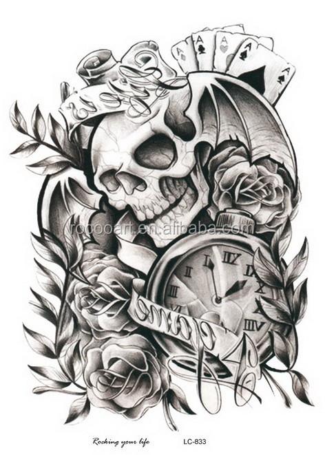 lc 833 new 2016 wholesale big coolest clock skeleton tattoo designs rh alibaba com big chest tattoo designs big tribal tattoo design